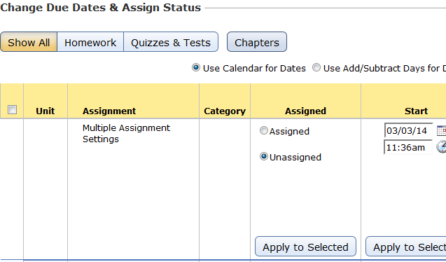 Changing due dates and other settings for multiple assignments
